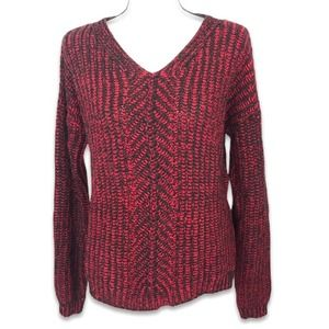 Romeo & Juliet Couture navy red heavy knit sweater